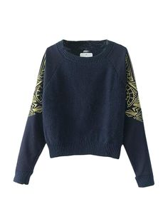 Fashion Patchwork Long Sleeve Knit Crew Neck Sweaters