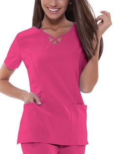 Cherokee Perfect Stretch V-neck Scrub Top Scrubs Outfit, Scrubs Uniform, Medical Scrubs, Nurse Scrubs, Medical Uniforms, Nursing Dress, Scrub Tops, V Neck Tops, Work Wear