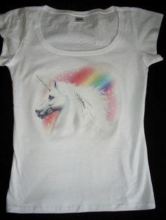 Fantasy T-Shirt mit Druck Einhorn weiß S-XL -  with print unicorn white