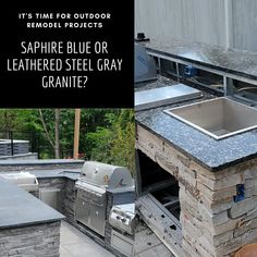 These photos are from the two of our most recent remodeling projects -- one in Wayne, and another in Chatham, NJ. Which of these two granites would you choose for your outdoor cooking space?  #outdoorkitchen #outdoorkitchendesign #outdoorkitchens #outdoorkitchendesignstore #granite #steelgray #steelgraygranite #bluegranite #granitecountertops #outdoorkitchenideas⠀⠀⠀ #outdoorkitchengoals #outdoorkitchensandgrills #outdoorkitchenbbq #kitchendecor #kitchendesign #homedecorideas #kitchengoals