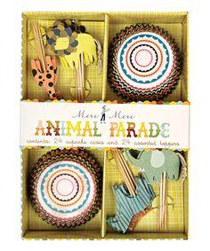 Take a look at this Meri Meri Animal Parade Cupcake Kit on zulily today! Party Animals, Jungle Animals, Animal Party, Wild Animals, Safari Party, Jungle Party, Jungle Theme, Circus Party, Giraffe Party