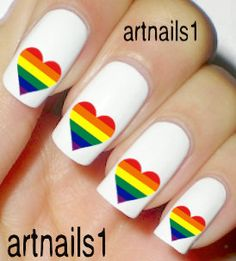 Set of 10 Under a Dollar Rainbow Heart Red Blue Green by artnails1