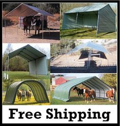 Horse Shelter - Protect your horse from Sun and Weather - Complete kit - Portable Equine Run-In-Shed Shelter - See more at HisCoShelters.com - #horse