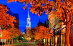 Church Street, Burlington, Vermont  Autumn evening blue hour by LEX PIX, via 500px