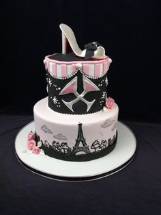 paris, eiffel tower, custom cake, pink, black, high heel shoe, shoe cake, pumps, martini, roses, birthday cake