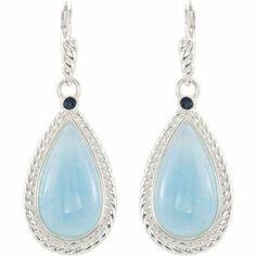 Genuine Milky Aquamarine and  Blue Sapphire Earrings