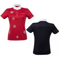 The Equi-Theme Etoiles Short Sleeve Ladies Competition Shirt is tailored cut show shirt decorated with strass stars.