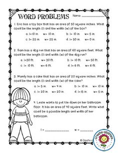 Area and Perimeter Poster and Activity Set e66cffb32