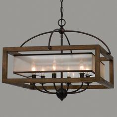 "24""W x 20""T - Square Wood Frame and Sheer Chandelier - Large"