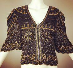 ViNtAgE 80s does 20's Black Gold Beaded Jacket by MothFoodVintage