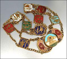 Egyptian Enamel Art Deco Necklace Belt Gold Gilt Egyptian Jewelry Vintage 1920s Accessories. $225,00, via Etsy.