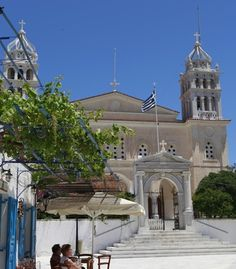 The Church of Agia Triada sits in the center of Lefkes. (From: A Greek Island Vacation You Can Afford!)
