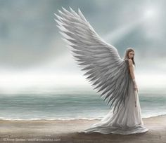Spirit Guide blank greetings card by fantasy artist Anne Stokes. Angel greetings card by Anne Stokes. Anne Stokes, Angels Among Us, Angels And Demons, Fallen Angels, Fantasy World, Fantasy Art, Fantasy Books, Angel Protector, I Believe In Angels
