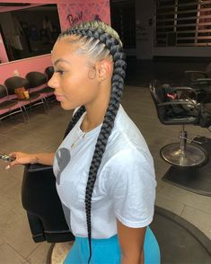 5 Easy Protective Styles for the Fall Nice, neat and classic😍 Beautiful these feed-in braids by Allison. Two Braids Hairstyle Black Women, Feed In Braids Hairstyles, Braids Hairstyles Pictures, Braided Hairstyles For Black Women, Braids For Black Hair, Weave Hairstyles, Protective Hairstyles, Latina Hairstyles, School Hairstyles