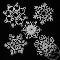 Tatting - Set of 5 handmade Christmas ornaments von Izabelka's Jewelry auf DaWanda.com