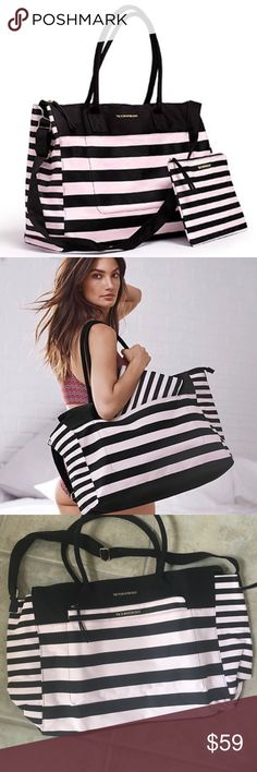 """✨VICTORIA'S SECRET Weekender Tote VICTORIA'S SECRET canvas weekender tote.  Black and light pink stripes.  Black handles and shoulder strap.  Nylon interior lining with one large zip pocket.  Large exterior slip pocket on front with separate zippered pouch (perfect for toiletries).  Measures 19.5"""" L x 7.5"""" W x 14"""" H.  Brand new in original packaging. Victoria's Secret Bags Travel Bags"""
