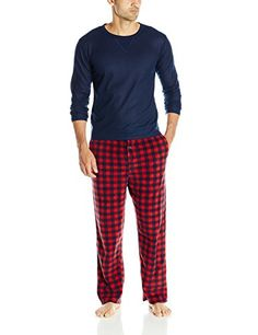 Essentials-by-Seven-Apparel-Mens-Long-Sleeve-Top-and-Fleece-Bottom-Pajama-Set