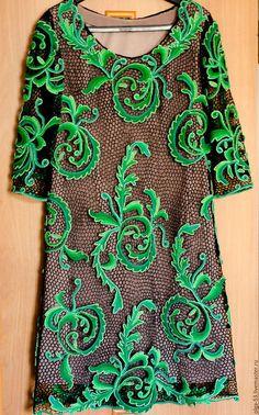 """Платья ручной работы. Ярмарка Мастеров - ручная работа. Купить Платье """"Лесная фея"""". Handmade. Тёмно-зелёный, ирландское вязание"""