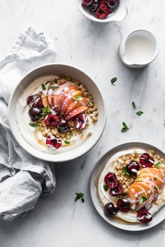 fruit + grain yogurt bowls