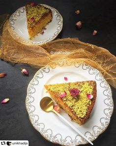 repost @umikhadija  Basbousa A traditional middle Eastern cake/dessert made with semolinacoconut and condensed milk thereafter drenched in sugar syrup garnished with ground pistachio and rose petals  .  Basbousa Recipe credit:@umikhadija Picture credit:@umikhadija .. 1 1/2 cup semolina 1/2 cup desiccated coconut 1 cup melted ghee/ butter 1 tin condensed milk 1 tsp baking powder Pistachio and rose petals for garnish .. For the syrup 1 1/2 cup sugar 1 cup water 1 tsp lemon juice 1 tsp rose…