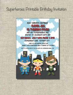 Superheroes: Printable Birthday Invitation
