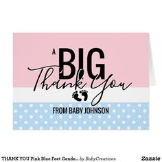 THANK YOU Pink Blue Feet Gender Reveal Baby Shower