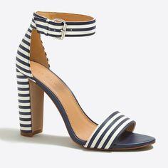 Striped chunky-heel sandals