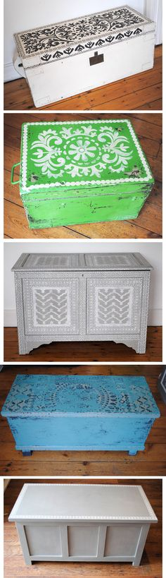 Painted wooden chests using Annie Sloan Chalk Paint™ with Nicolette Tabram Stencils. #anniesloan #chalkpaint™ #stencils
