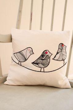 Appliquéd Bird Cushion by MissSDesigns on Etsy, £16.00