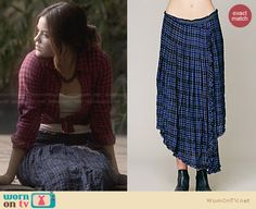 Aria's blue wrap midi skirt on Pretty Little Liars. Outfit Details: http://wornontv.net/27949 #PLL #fashion