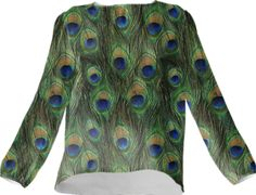 Peacock Feathers Silk Top - Available Here: http://printallover.me/collections/sondersky/products/0000000p-peacock-feathers-15