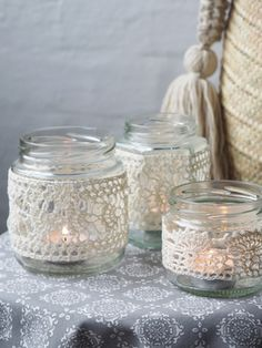 Nordic Yarns and Design since 1928 Tea Light Lanterns, Tea Lights, Deco Table, Diy Home Crafts, Cotton Crochet, Mason Jar Crafts, Diy Candles, Crochet Home, Creative Decor