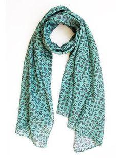 Scarf / Sarong - Green sprigs Textile Design, Scarves, Textiles, Green, Fox, Handmade, Collection, Spring, Accessories