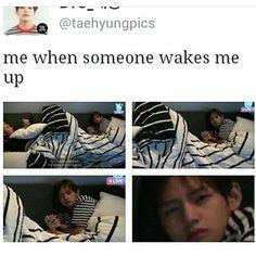 Hi... you wanted something... NO? THEN WHY YOU WAKE ME UP LIKEE YOI KN OW I NEeD sleep lyke YO KNOW I AIN'T YPPAH ❤ TAE looks so SQOOSHI #BTS #방탄소년단