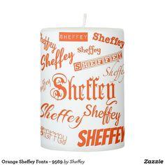 Orange Sheffey Fonts - 9569 Pillar Candle