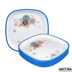 Nayasa Dinner Plates: Buy Nayasa Square Full Plate Dlx Set Of 6 Pcs, Blue Online | Oyekitchen.com