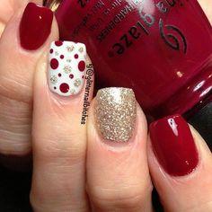 Red glitter polka dots nail art for Valentine's Day