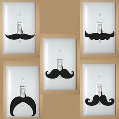 These are a must have!! Quirky and fun...sure to be a conversation starter.  Add a touch of humor to every room in the house. Lots of styles to choose from.  Mustaches fit the standard 2 3/4 by 4 1/2 inch lightswitch cover.    Please leave the vinyl color and number choices for your mustaches in ...