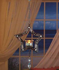 Hanging Bejeweled Star LED Tea Light Candle Lantern Blue