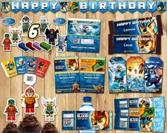Legends of Chima Birthday Party Kit Download Banner Invite Cupcake Toppers Favor Tags Bottle labels Centerpiece Lego Chima Birthday Party