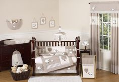Baby Nursery, : Breathtaking Unisex Baby Nursery Room Decoration With Cream Sheep Sweet Jojo Baby Bedding Along With Rectangular Cherry Wood Baby Cribs And White Sheep Baby Mobile