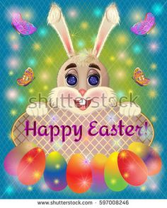 Easter greeting card with bunny rabbit. Lettering. Vector illustration.