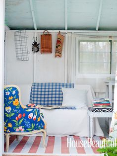 Guest studio with vintage chairs. Design: Studio Due. Photo: Ditte Isager. housebeautiful.com #cottage #vintage #stripes