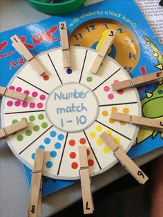 [Image Only] Number Matching Wheel using clothespins and stickers (pinned by Super Simple Songs) for matematika Preschool Learning Activities, Kindergarten Math, Classroom Activities, Toddler Activities, Preschool Activities, Counting Activities, Nursery Activities Eyfs, Maths Eyfs, Alphabet Activities
