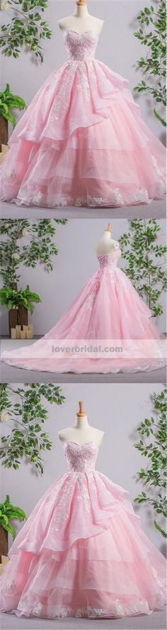 Sweetheart Pink A-line Lace Cheap Evening Prom Dresses, Sweet 16 Dresses, Quinceanera Dresses, 17488 #promdresses