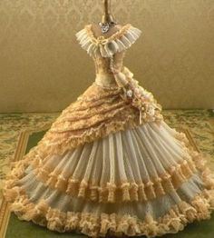 Gorgeous new 1860's gown...Masses of roses to the right and trimmed panels on the left.. www.ruthellens.faithweb.com