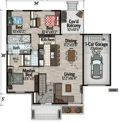 Country House Plans, New House Plans, Small House Plans, Architectural Design House Plans, Architecture Design, Modern Mediterranean Homes, Sims House Design, Small Floor Plans, 4 Bedroom House Plans