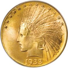 The least frequent offered circulation strike Indian Head Eagle in Heritage auctions: 1933 $10 MS65 PCGS