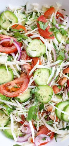 Valentina's Corner saved to Delicious Recipes and Family Favorite Light salad with cabbage, tomato, and cucumbers. In a vinegar and oil dressing. Great salad to enjoy anytime!