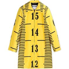 Moschino Coat (2.470 HRK) ❤ liked on Polyvore featuring outerwear, coats, yellow, moschino, tops, long sleeve coat, moschino coat, print coat and yellow coat